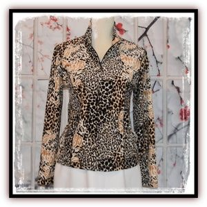 😍Fabulous KIM ROGERS Animal Print Fleece Jacket😍